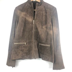 Alfani leather suede jacket zip up size L